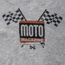 """T-shirt MOTO MAGAZINE """"Drapeaux à damiers"""" GRIS"""
