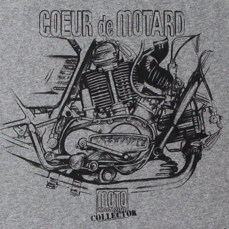 T-shirt moteur V-twin Ducati 750 GT et SS GRIS CHINE Moto Magazine