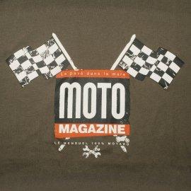 "T-shirt MOTO MAGAZINE ""Drapeaux à damiers"" KAKI"
