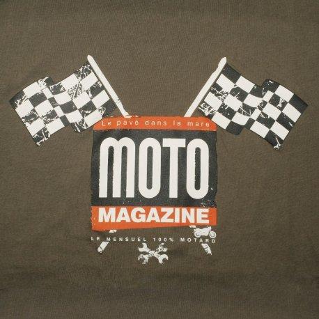 """T-shirt moto café racer """"Drapeaux à damiers"""" couleur Kaki par Moto Magazine"""