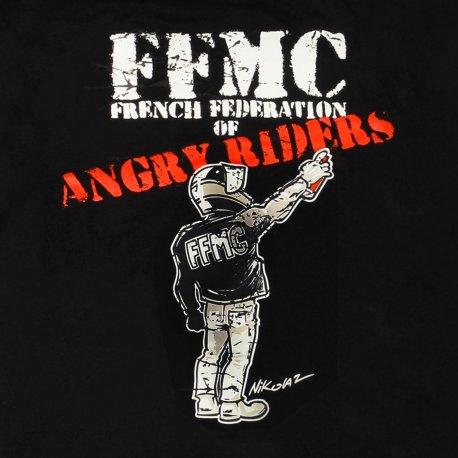 """T-shirt """"Angry Rider"""" des motard en colère - dessin au dos, le motard tagueur"""