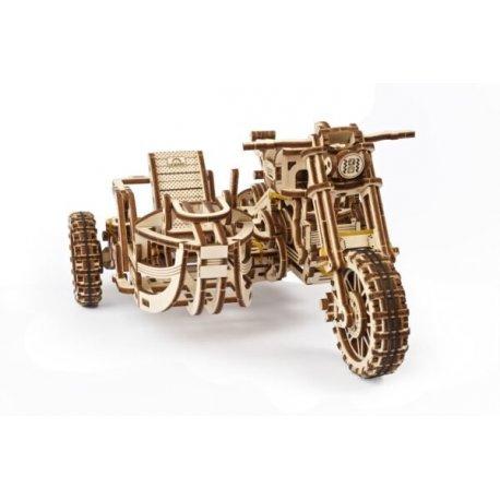 Moto scrambler avec side-car UGEARS - puzzle 3D mécanique en bois